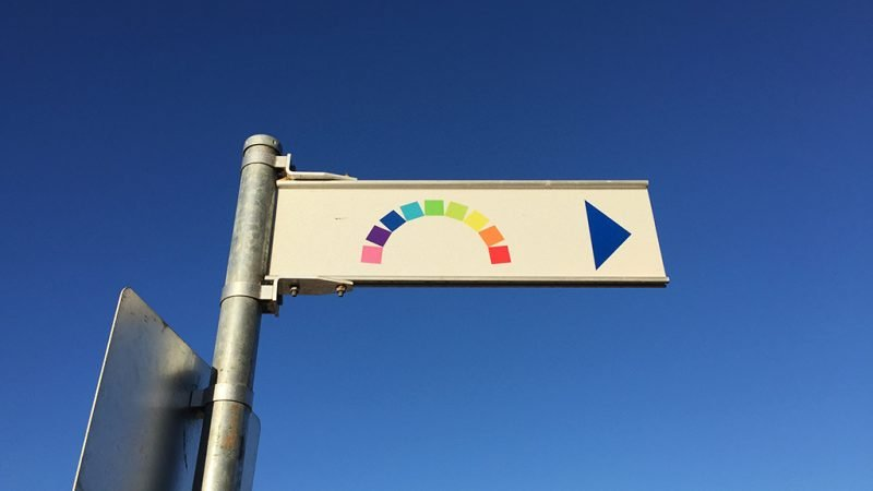 Image of the sign pointing to the rainbow shipping container artwork in Fremantle. This is an example of a visual cue