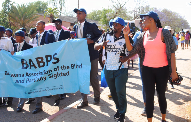 Tootsie walks along a road with others who are holding a banner as part of the White Cane day celebrations