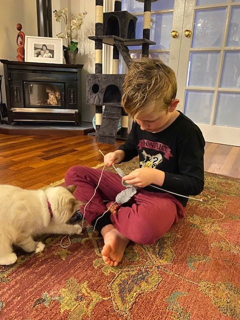 Young lad learns how to knit with cat at his feet.