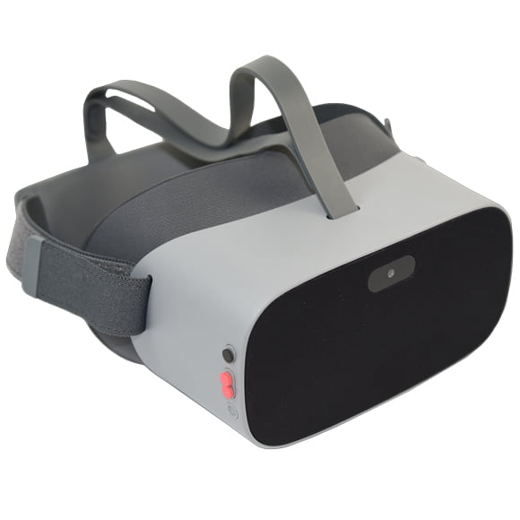 Photo of the NuEyes E2 googles to assist low vision indoors