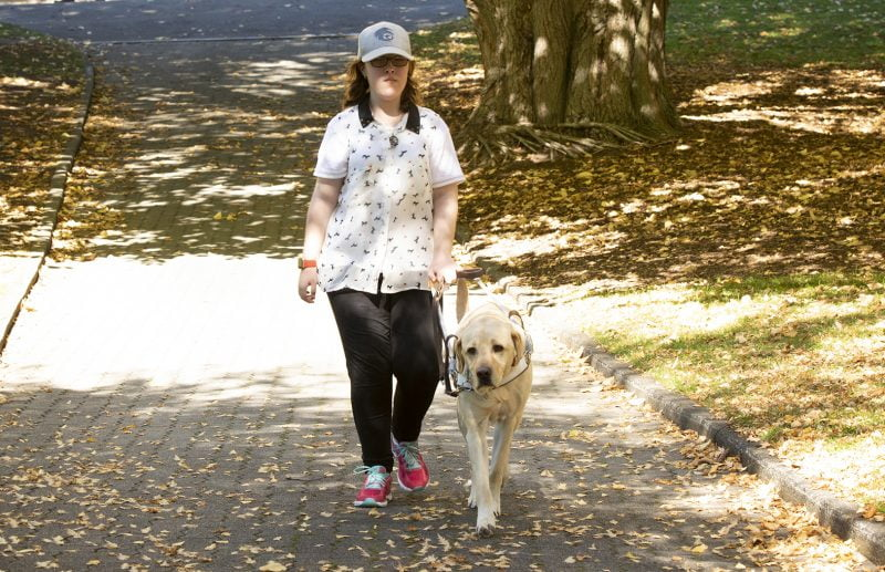 A teenager walks with a Guide Dog