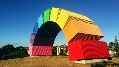 Rainbow shipping container artwork