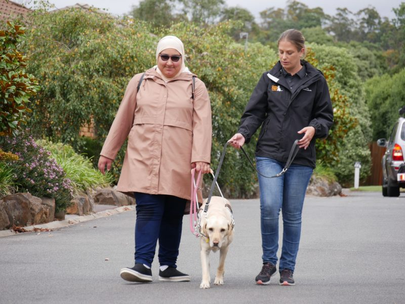 A teenage girl walking a Guide Dog with a female Guide Dog Instructor